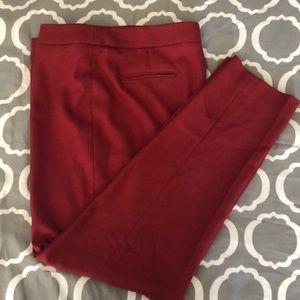 Ann Klein Size 10 Red Slacks Slim Leg